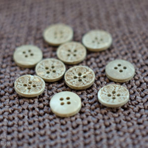 Carved Coconut Buttons - set of 5 - 12mm