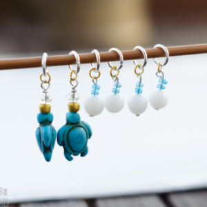 Turquoise Sea Turtles with Eggs Stitch Markers - set of 6