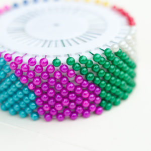 40 Sewing/Blocking Pins in Rainbow & White