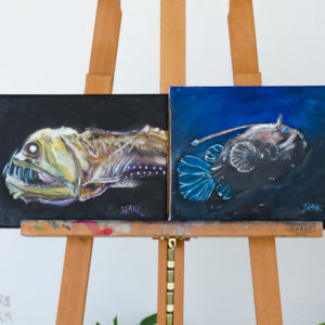 Deep Sea Creatures Oil Painting - 'Abyss' - set of 2 contemporary paintings