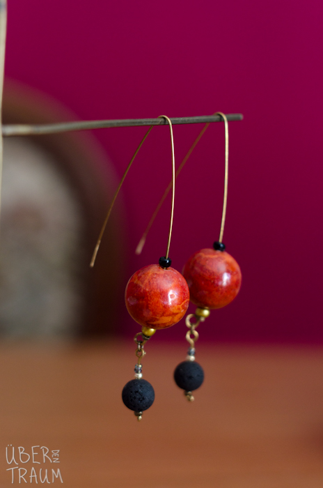 Bronze Round Coral Dangle Earrings