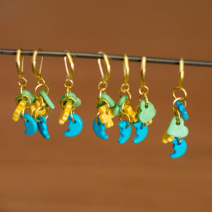 Colored Wood Crochet Stitch Markers - set of 7