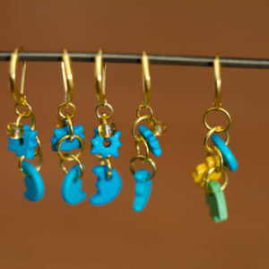 Colored Wood Crochet Stitch Markers - set of 5