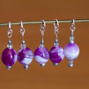 Silver & Purple Stitch Markers - set of 5