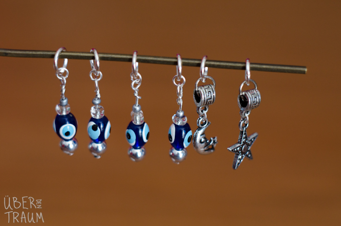 Silver Evil Eye Stitch Markers - Moon & Star - set of 6