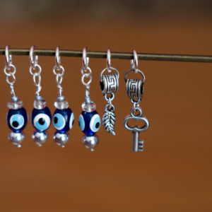 Silver Evil Eye Stitch Markers - Key & Feather - set of 6