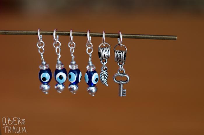 Silver Evil Eye Stitch Markers - Key & Feather - set of 6