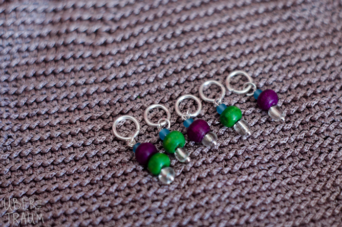 Silver Wooden Stitch Markers - set of 5