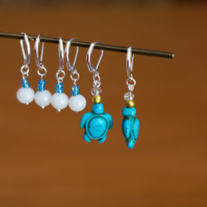 Turquoise Sea Turtles with Eggs Crochet Stitch Markers - set of 6