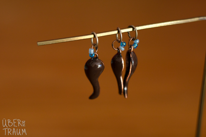 Brown & Blue Stitch Markers - set of 3
