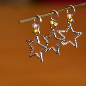 Silver Stars Stitch Markers - set of 3